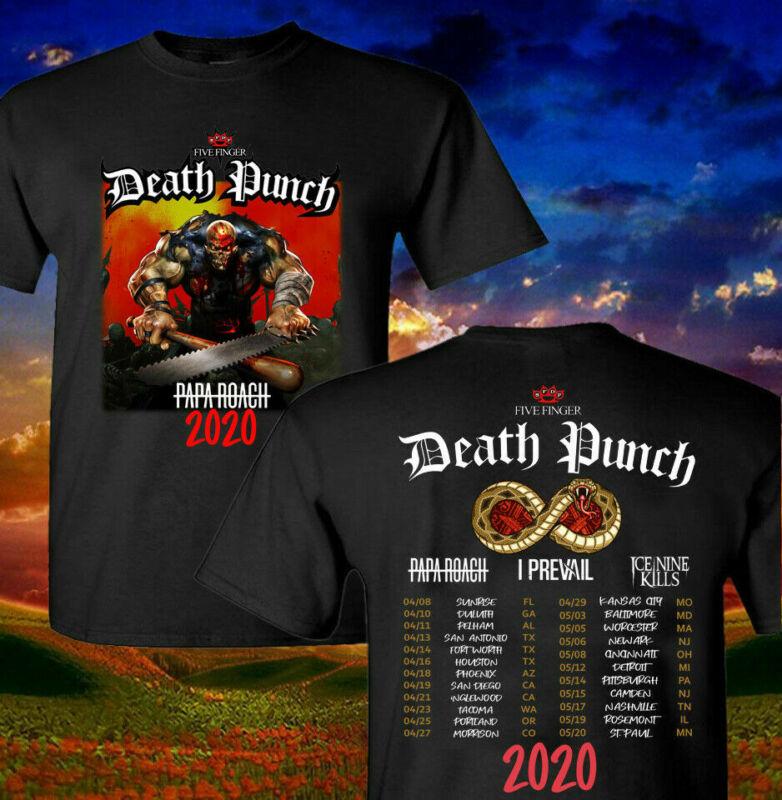 New Five Finger Death Punch 2020 Concert Tour T shirt Black Size S-2XL