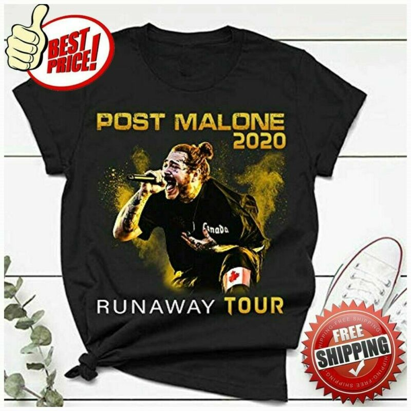 New Post Runaway Tour 2020 Malone Hiphop T-Shirt Full Size BLACK