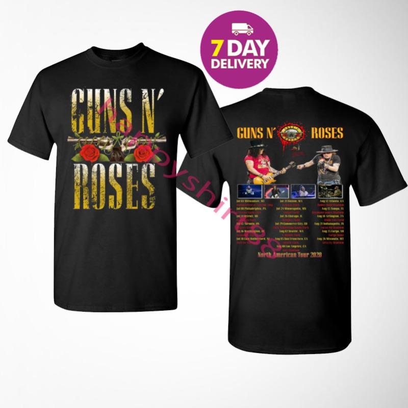 Guns N Roses North American stadium tour 2020 Men Black T-Shirt Size S to 3XL.