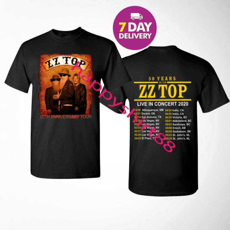 New ZZ Top 50th Anniversary tour 2020 T-Shirt Size Men Black S-3XL.