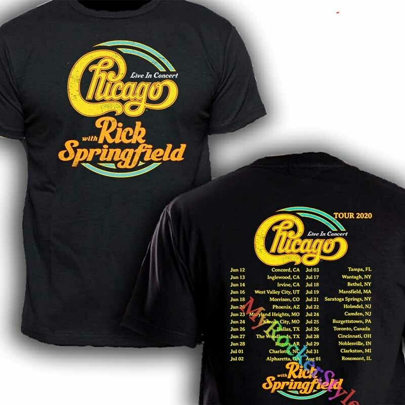 Chicago The Band With Rick Springfield Tour dates 2020 T Shirt black GILDAN