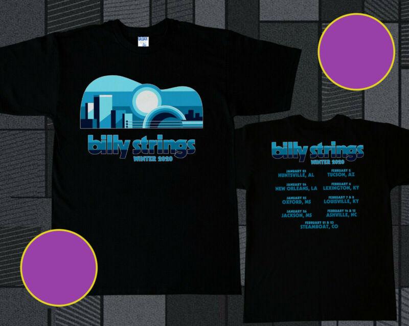 Billy Strings Tshirt Winter Tour 2020 Logo On Black T Shirt Size S-2XL