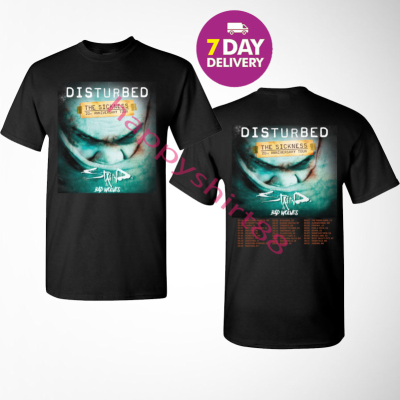 Disturbed Evolution Tour Dates 2020 T shirt S-3XL MENS.