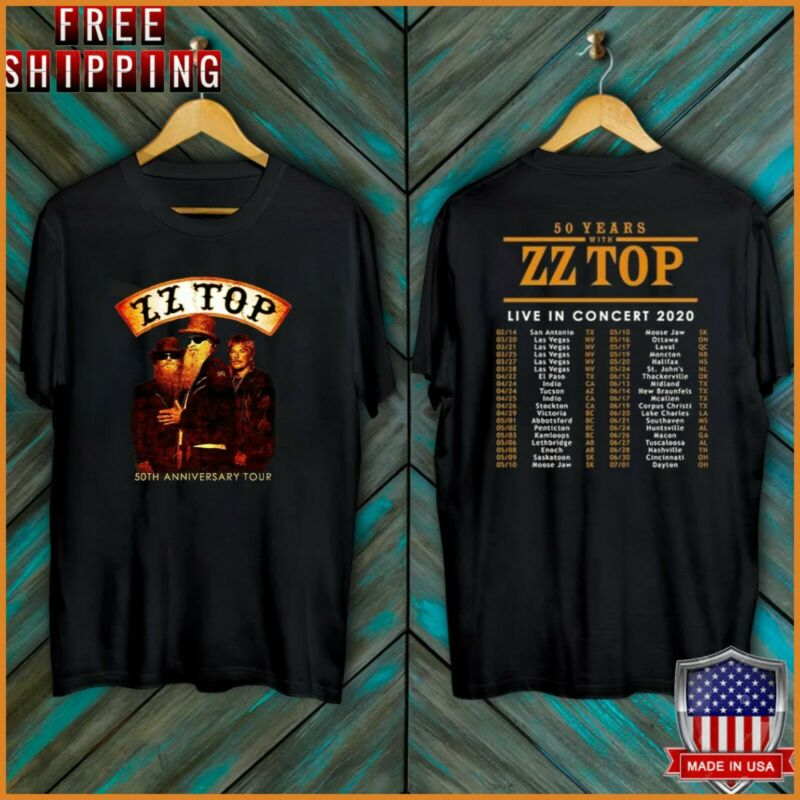 NEW Shirt ZZ Top T-Shirt 50th Anniversary Tour 2020 T Shirt Black Unisex S-6XL