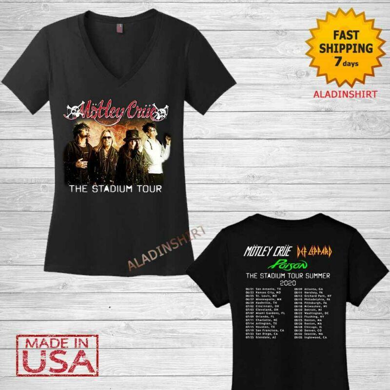 Motley Crue t Shirt Women V-neck The Stadium Tour 2020 T-Shirt Size Black