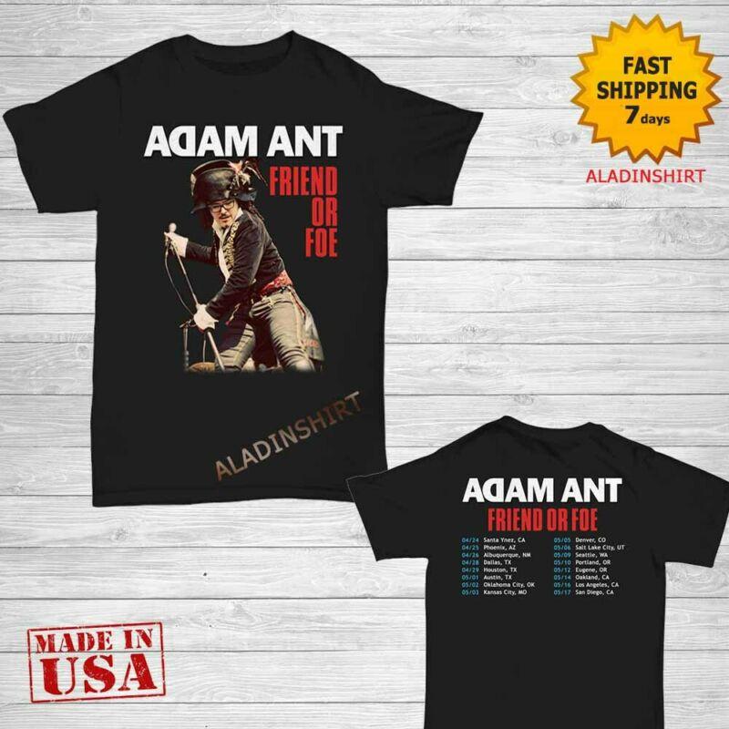 Adam Ant t Shirt Friend or Foe tour 2020 T-Shirt Size M-2XL Men Black