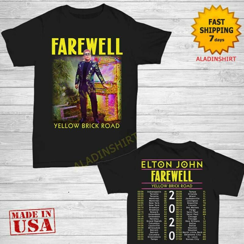 Elton John t Shirt Farewell Yellow Brick Road Concert Tour 2020 T-Shirt Size Men