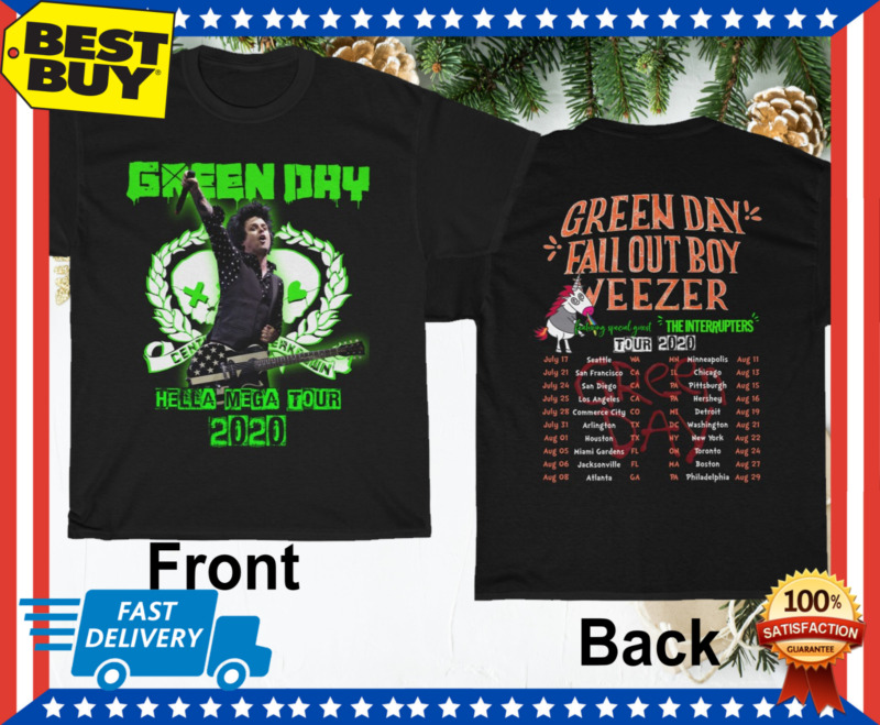 Green Day Fall Out Boy Weezer Shirt Hella Mega Tour 2020 T-Shirt Size M-3XL Men
