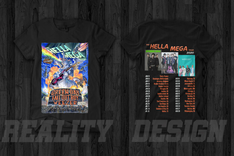 Green Day Fall Out Boy Weezer Hella Mega Tour 2020 T Shirt Rock Music Concert
