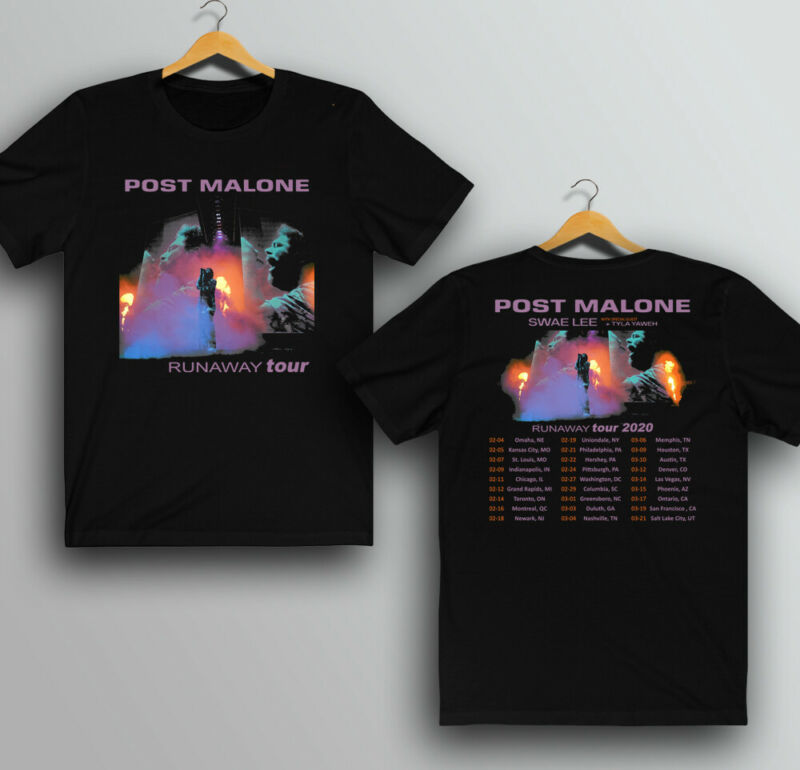POST MALONE Runaway Tour 2020 T-shirt New All Size Two Side