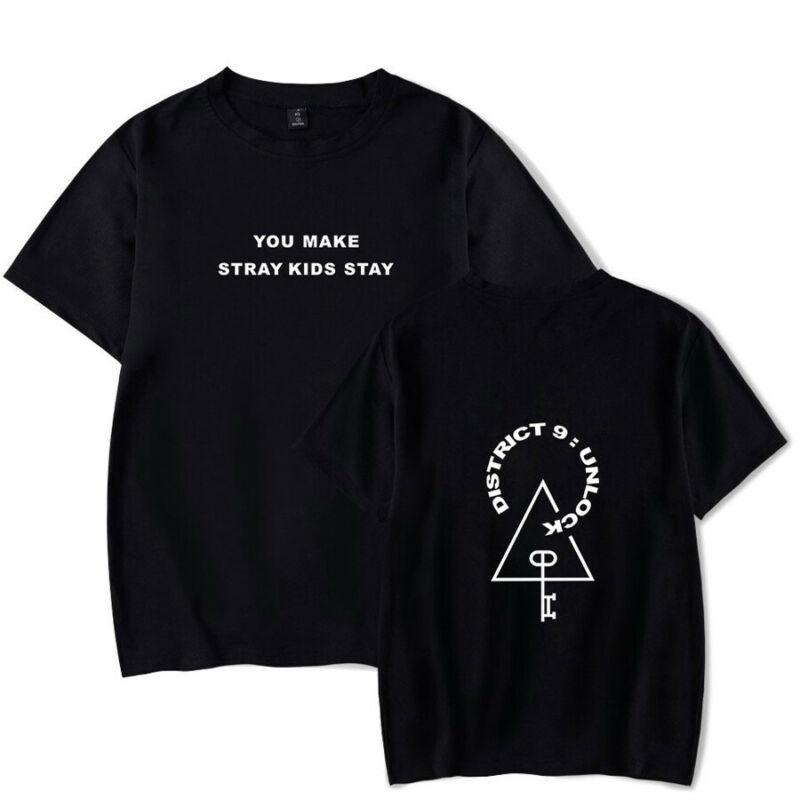 2020 Kpop Stray Kids T-shirt World Tour District 9 Unlock Short Sleeves Tee 2262