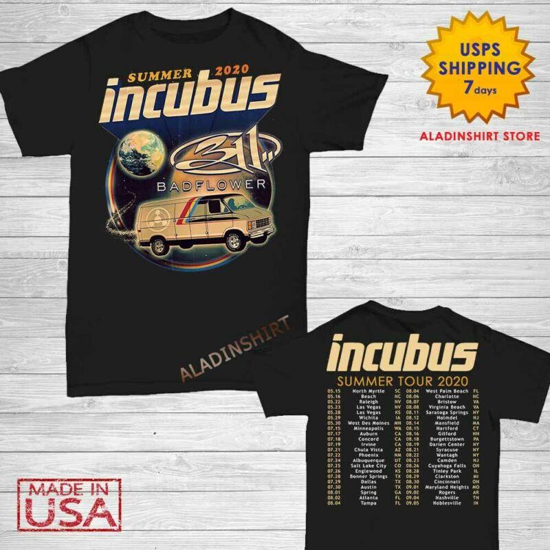 New Incubus t Shirt Summer Tour 2020 T-Shirt Size M-2XL Men Black Gildan