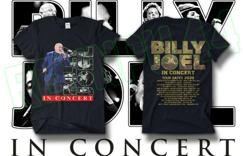 BJ Billy Joel In Concert Tour Shirt Concert Dates 2020 GILDAN Black T-SHIRT