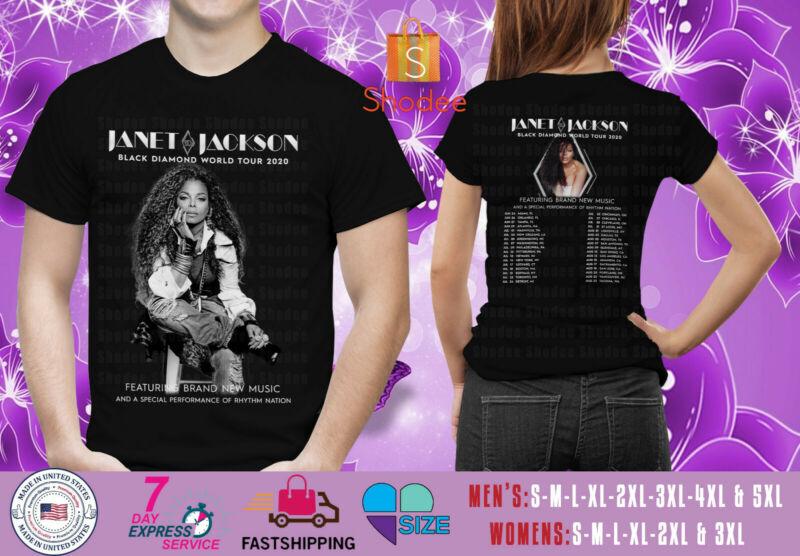 Janet Jackson Black Diamond World Tour 2020 Black Mens Womens Tshirt