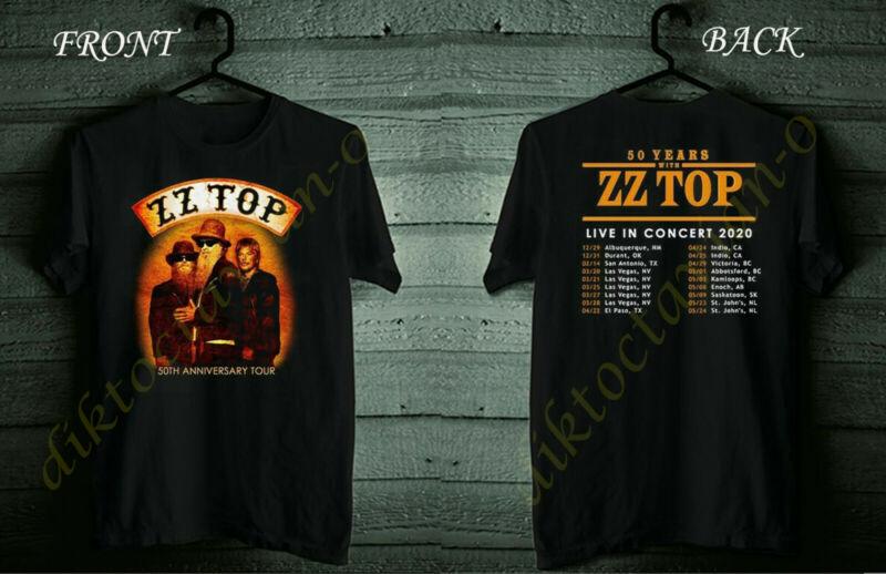 ZZ Top Shirt 50th Anniversary Tour 2020 Black Shirt Size S-5XL #Dico