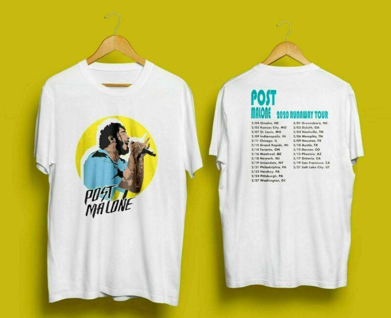 New Post Malone 2020 Run Away Tour T-SHIRT WHITE