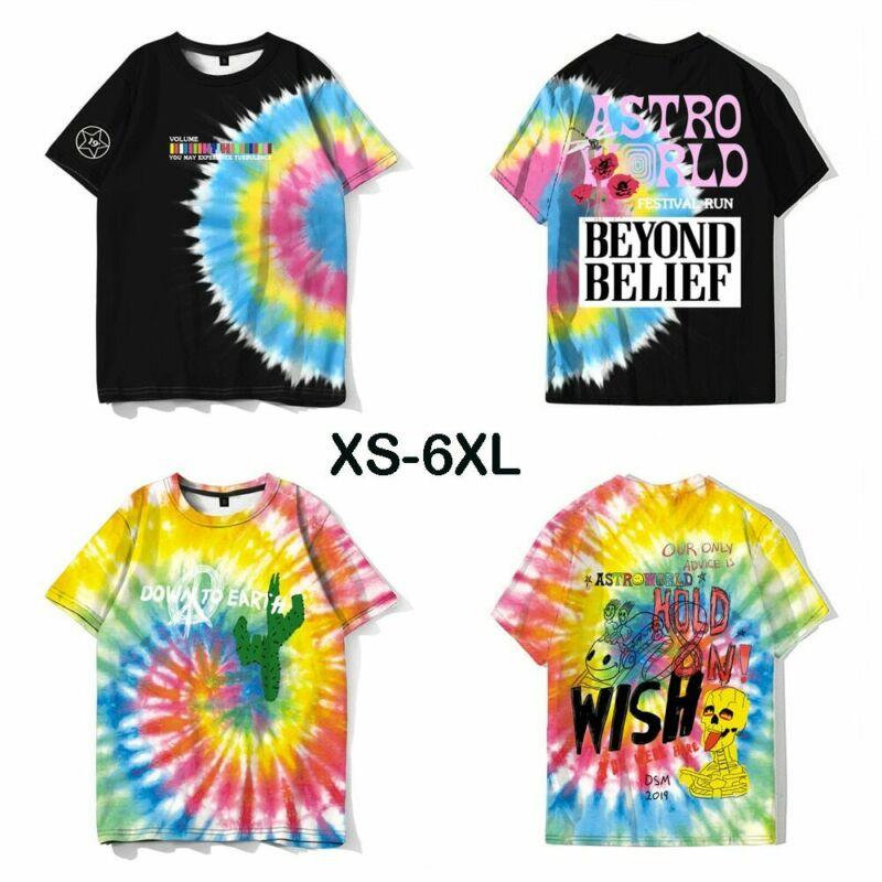 ASTROWORLD Travis Scott INS 2020 Festival Tie Dye Running Tour T-Shirt Casual