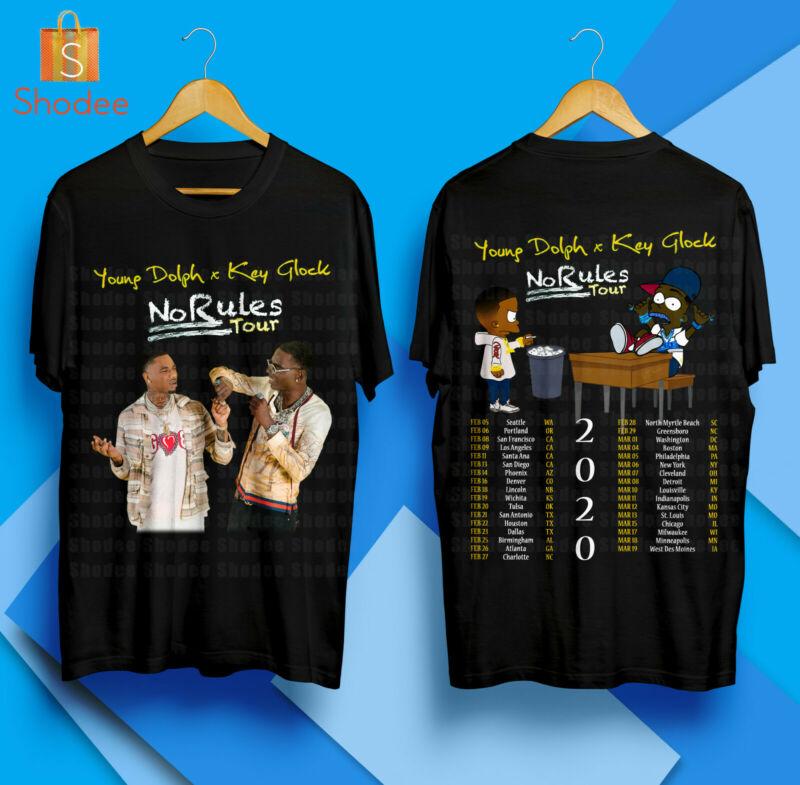 Young Dolph & Key Glock No Rules Tour 2020 Black Tshirt