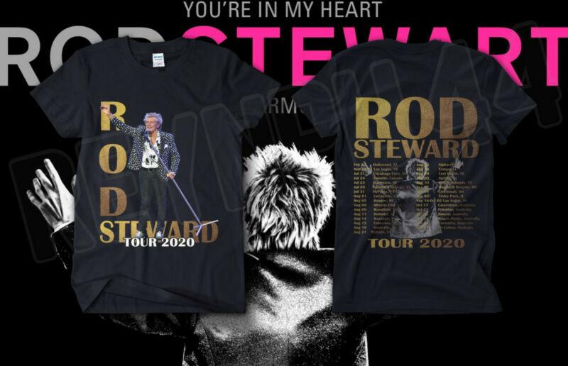 """CA Rod Stewart """"The Hits"""" Tour Shirt Concert Dates 2020 GILDAN T SHIRT USA SIZE"""