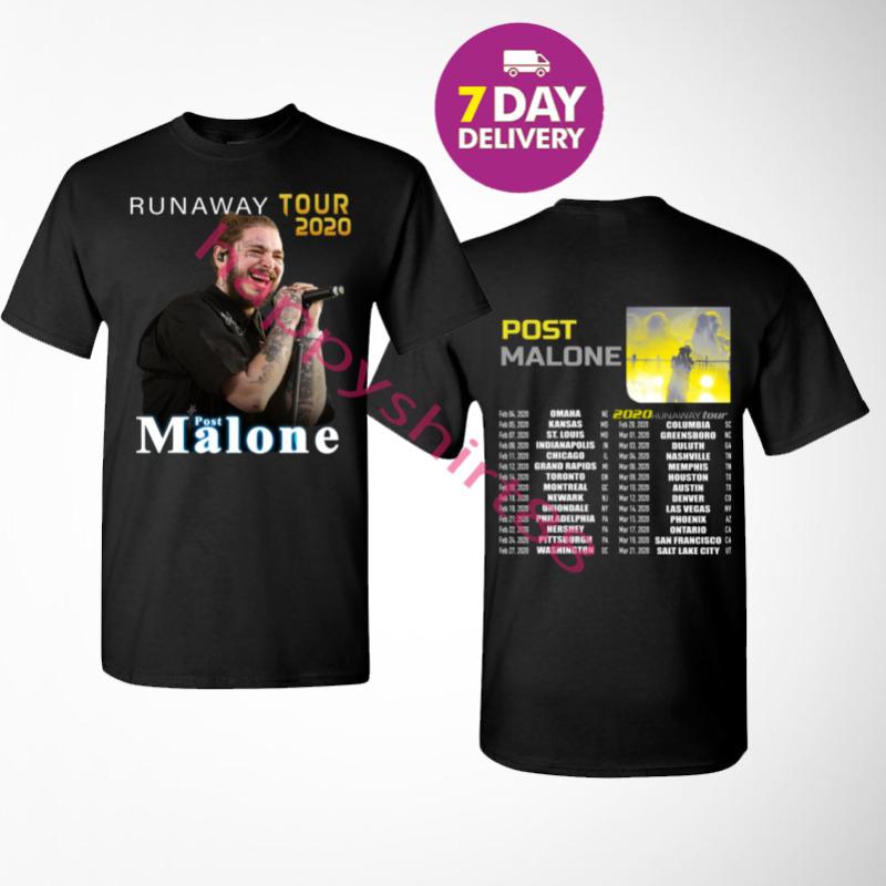 New Post Malone Runaway Tour 2020 Long Black Mens T-SHIRT BLACK