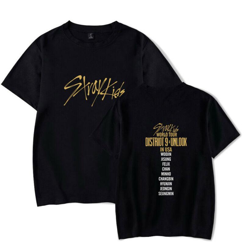 2020 Kpop Stray Kids T-shirt World Tour District 9 Unlock Short Sleeves Tee