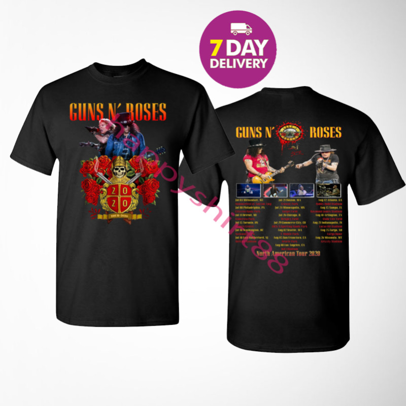 Guns N Roses Shirt North American stadium tour 2020 Black T-Shirt Size S-3XL.