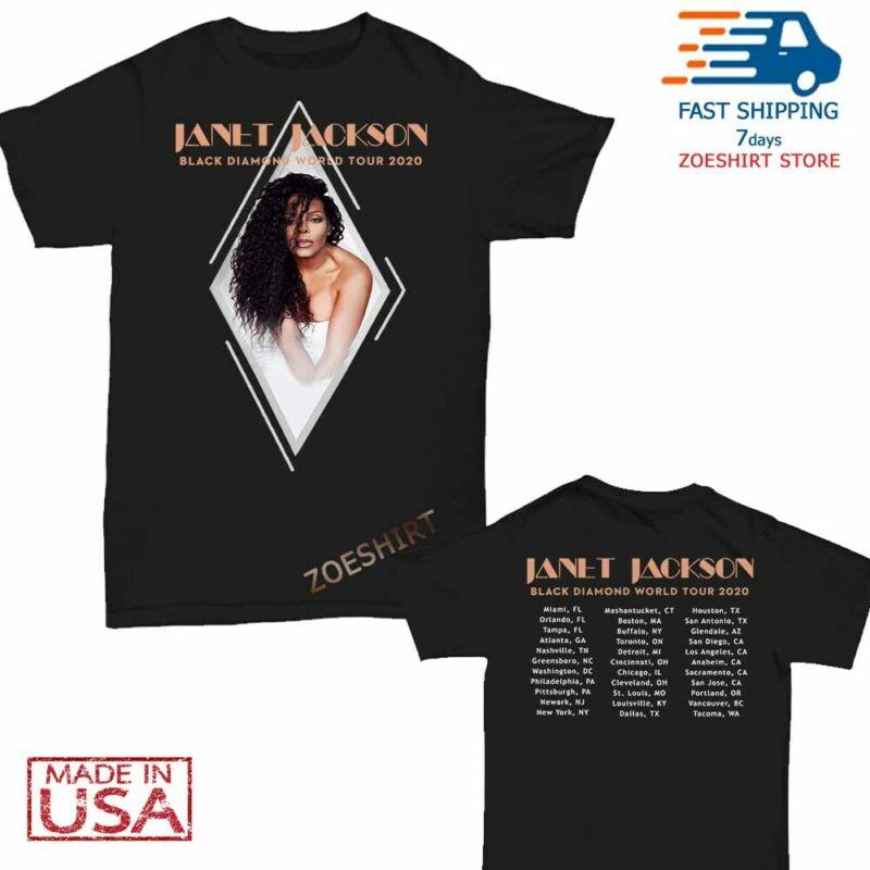 New Janet Jackson t Shirt Black Diamond world tour 2020 T-Shirt Size Men Black