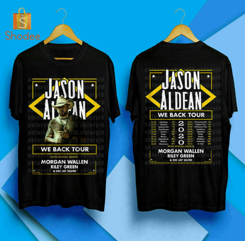 BEST JASON ALDEAN We Back Tour 2020 Black T Shirt S-3XL