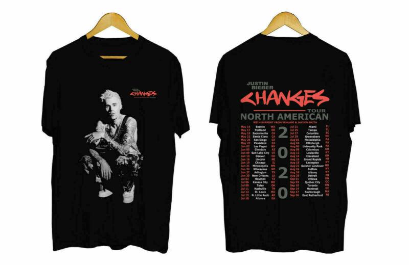 Justin Bieber Tour 2020 black T-Shirt 100% Cotton New