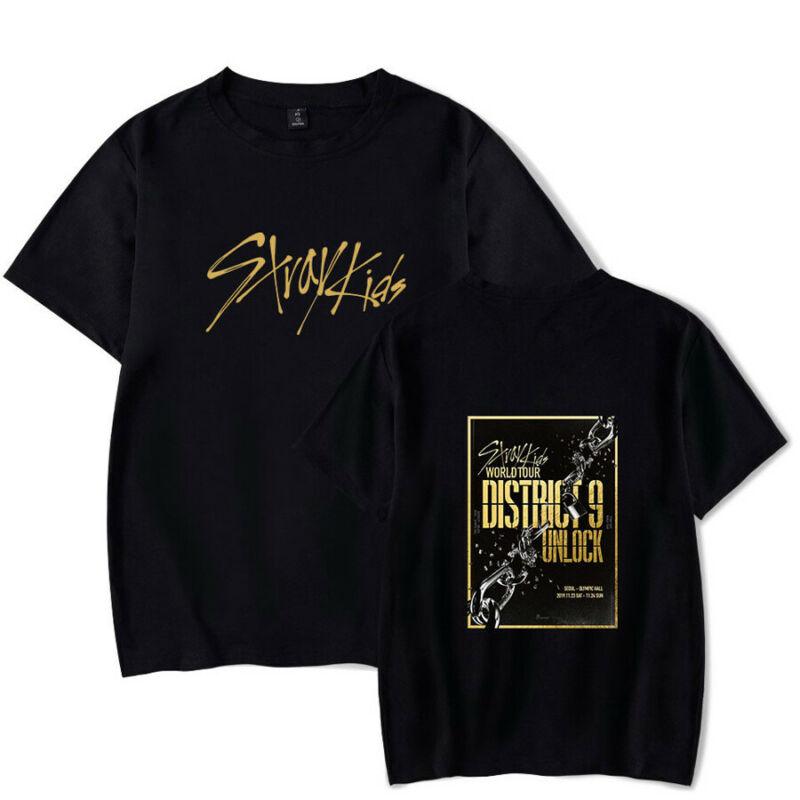 Kpop Stray Kids T-shirt World Tour District 9 Unlock Tee Shirt 2020