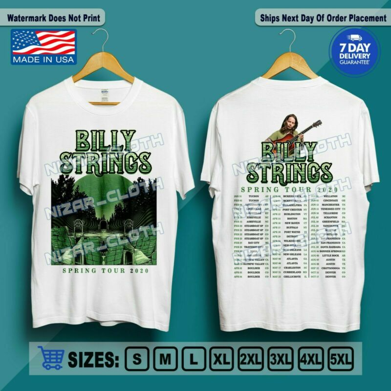 T-Shirt Billy Strings The Spring Tour 2020 with Full Dates US Size M-2XL