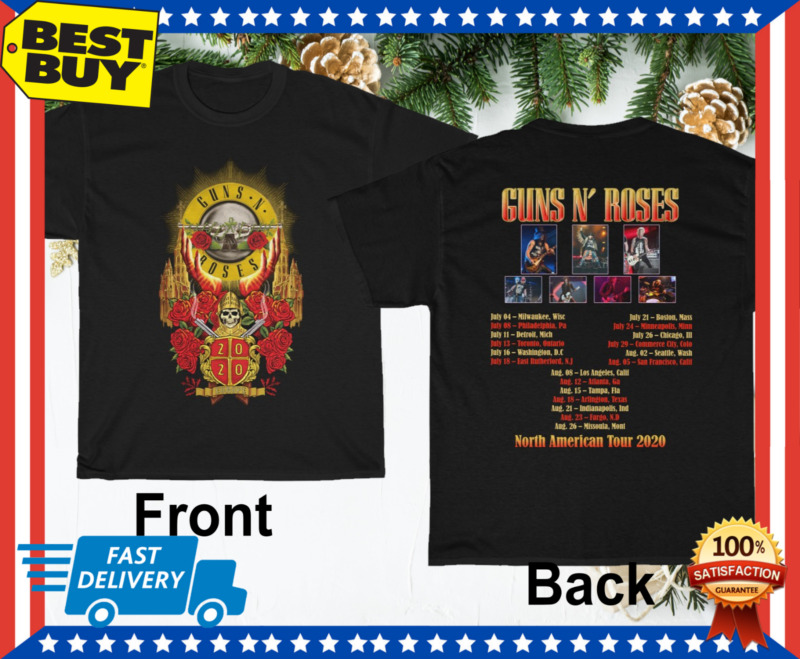 Guns N Roses T-shirt 2020 North American Tour Tee Paradise City Song Lyrics HOT