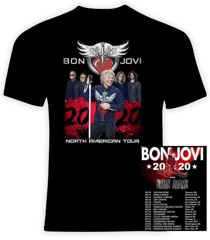 Bon Jovi and Bryan Adams 2020 Concert Tour T-Shirt S-3XL