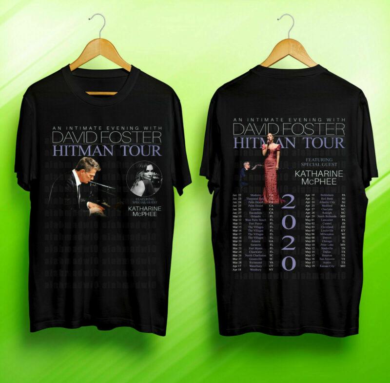 David Foster HITMAN TOUR 2020 ft Katherine McPhee Black T-shirt 2 Sides S-3XL
