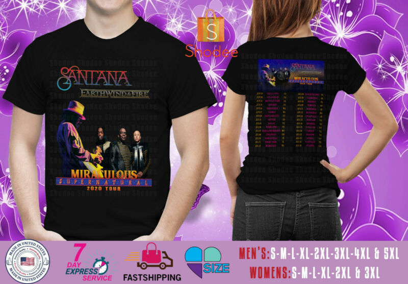 Santana with Earth Wind & Fire on Miraculous Supernatural Tour 2020 Black Tshirt