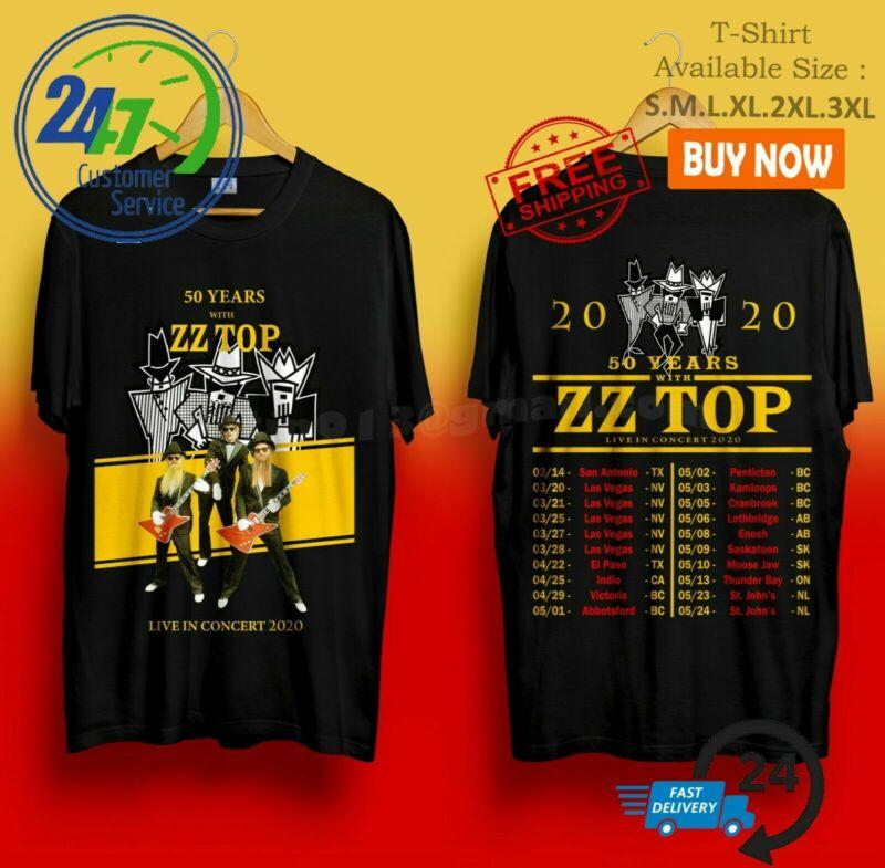 New 889-ZZ Top Shirt 50th anniversary tour 2020 T Shirt Size S-5XL