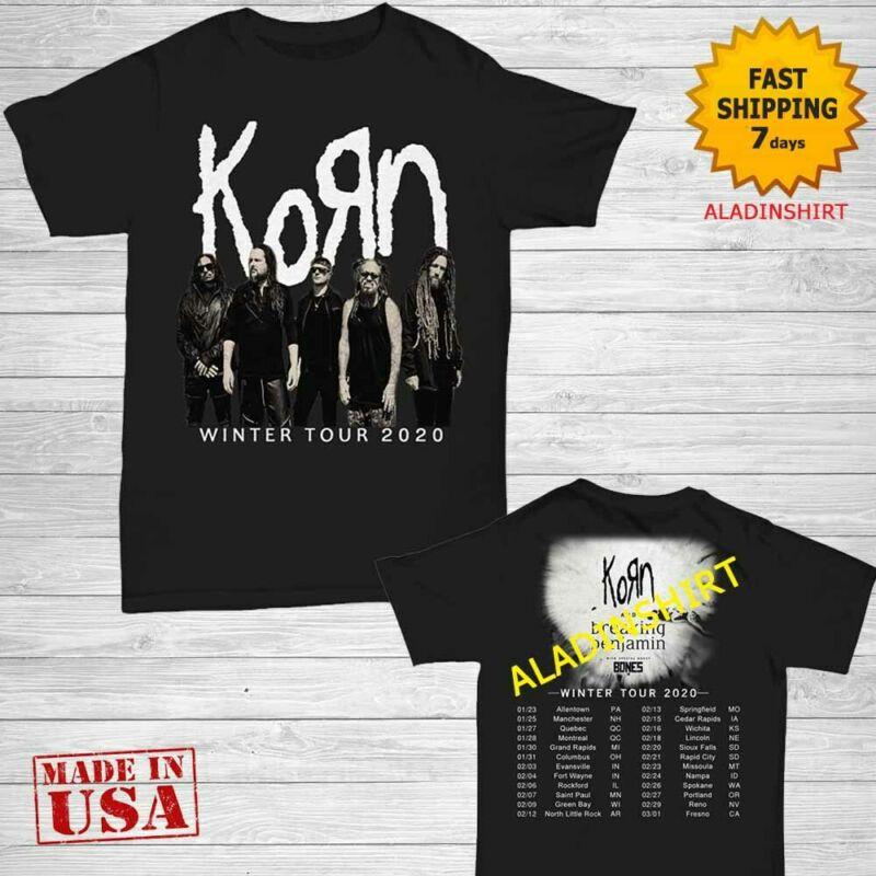 Korn t Shirt joint tour dates 2020 T-Shirt Size Men Black Gildan 2 side M-2XL