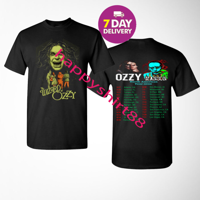 Ozzy Osbourne and Marilyn Manson t Shirt 2020 No More Tours 2 Mens Black T-Shirt