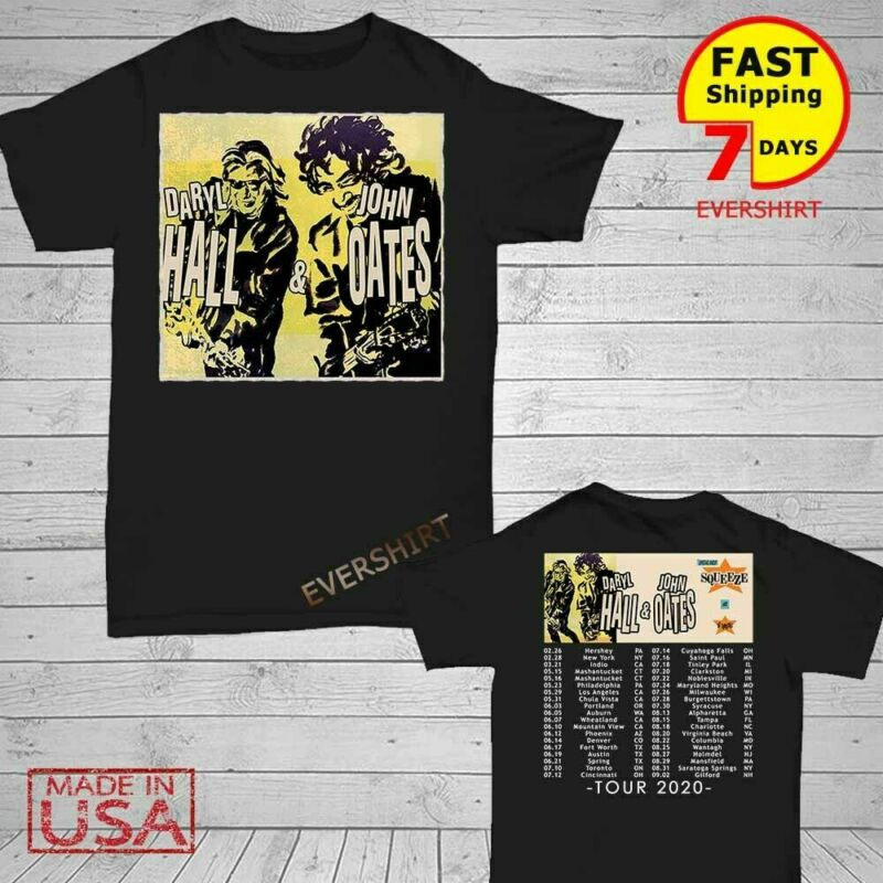 Hall and Oates t Shirt North American tour 2020 T-Shirt Size Men Black