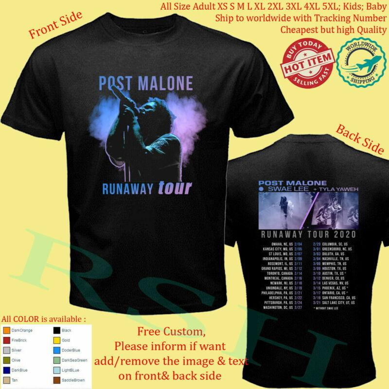 New POST MALONE SWAE LEE TYLA YAWEH RUNAWAY TOUR 2020 T-shirt full size black
