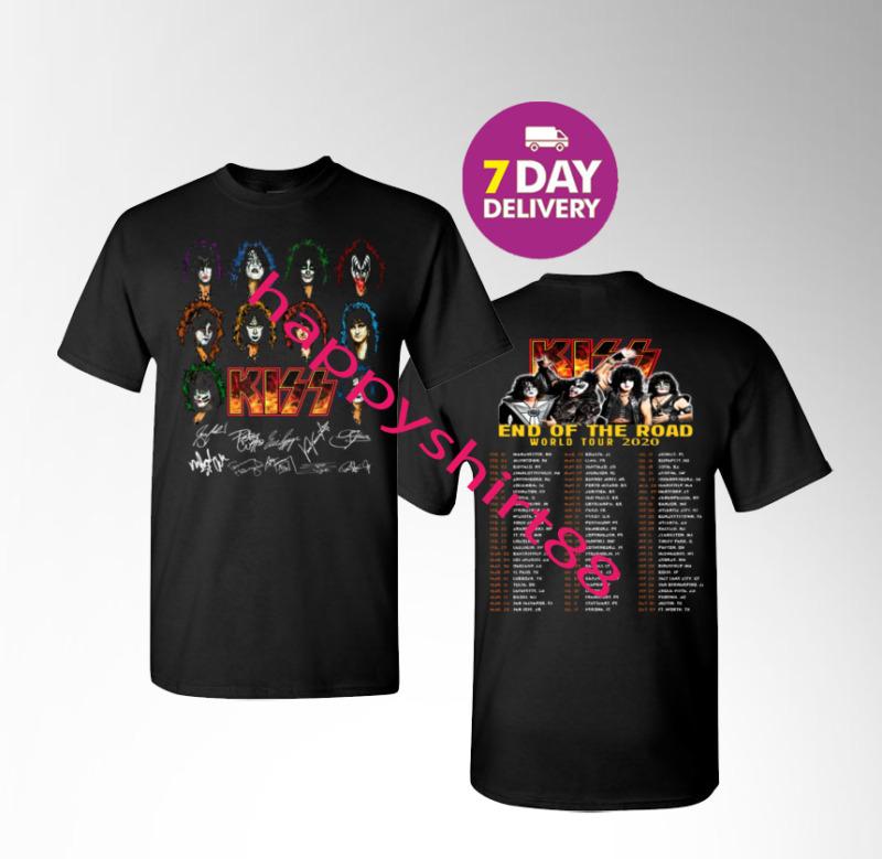 Kiss Band 2020 End of the Road World Tour 2020 Black Gildan T-shirt tee.