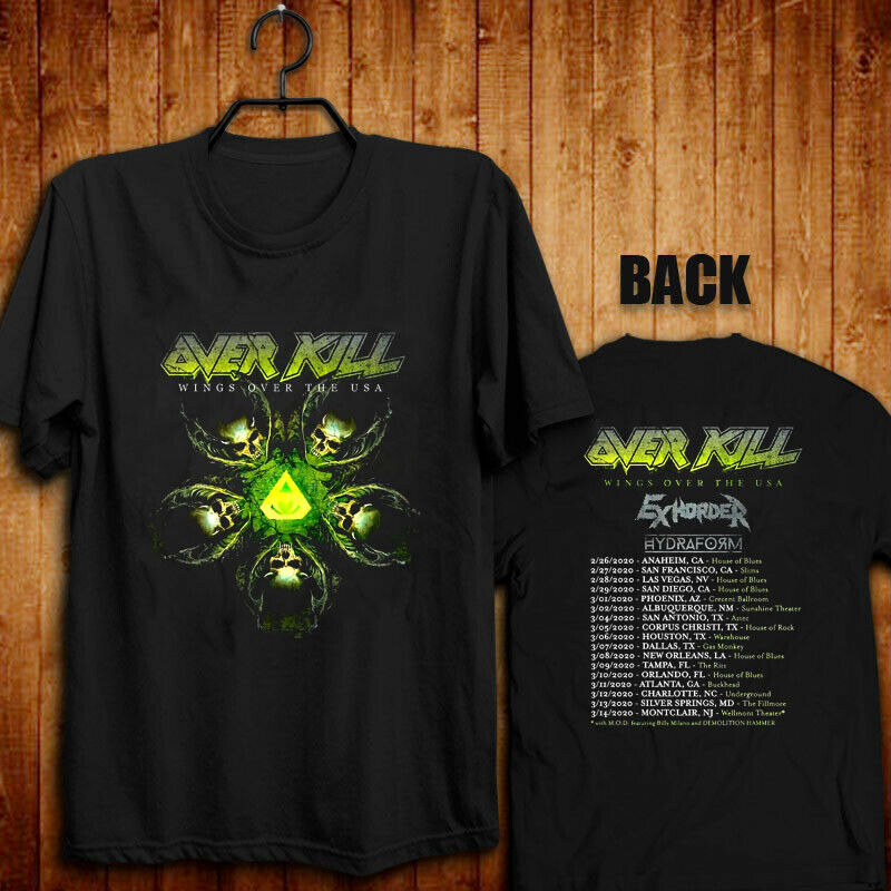 Over Kill Wings Over The USA Tour 2020 Exhorder Hydraform T Shirt