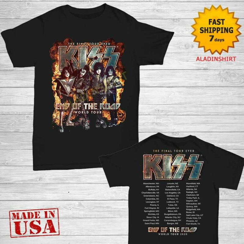 Kiss Shirt End of the Road farewell tour 2020 T-Shirt Size M-2XL Men Black
