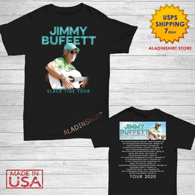 Jimmy Buffett Shirt Slack Tide Tour 2020 T-Shirt Size Men Black M-2XL Concert