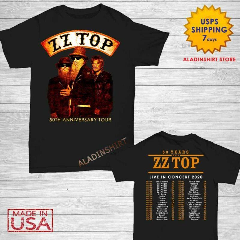 ZZ Top Shirt 50th anniversary tour 2020 T-Shirt Size Men Black Gildan M-2XL