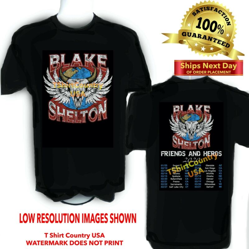 BLAKE SHELTON T Shirt 2020 Friends and Heros Concert Tour Sizes S-6X Tall Sizes