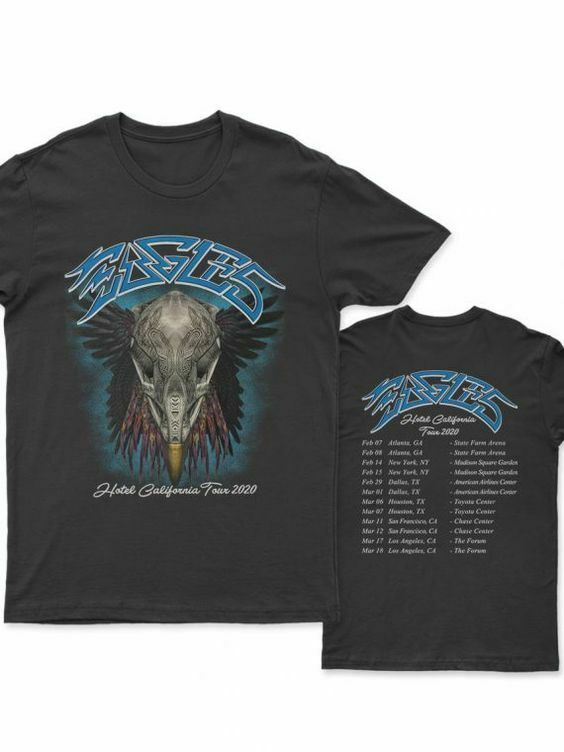 hot unisex Eagles Hotel California Tour 2020 t-shirt size S to 2XL