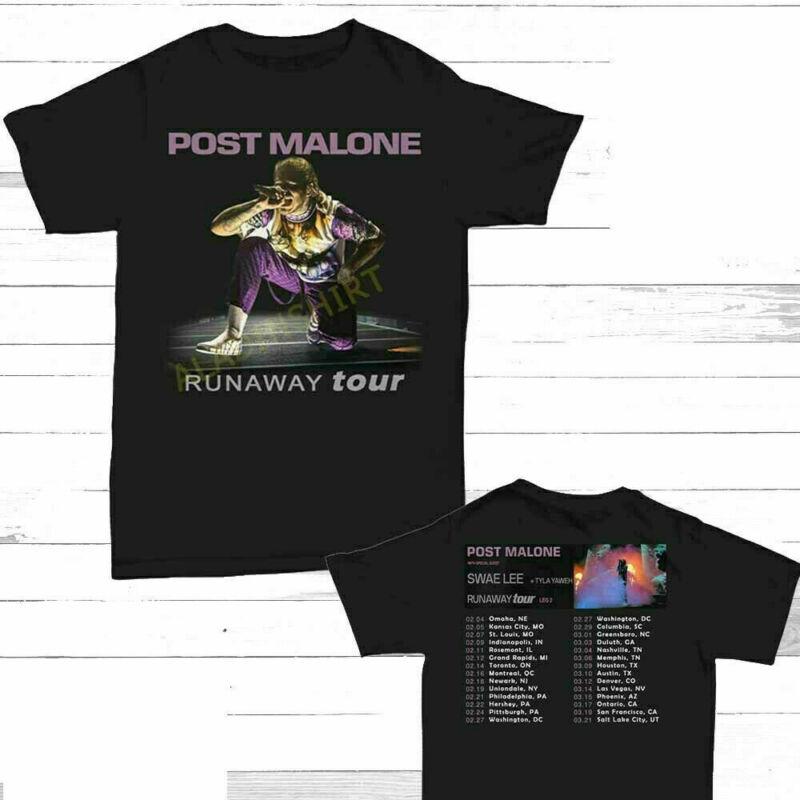 New Post Malone Runaway Tour 2020 Second Leg T-SHIRT BLACK