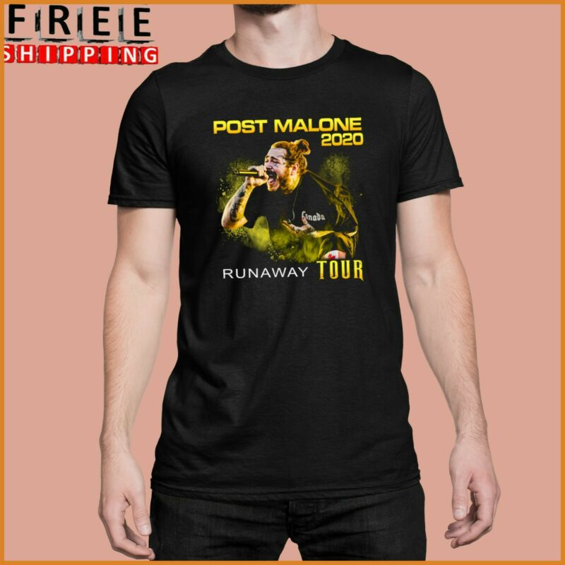 Post Runaway Tour 2020 Malone Hiphop T-Shirt Rapper Black Cotton tee Full Size