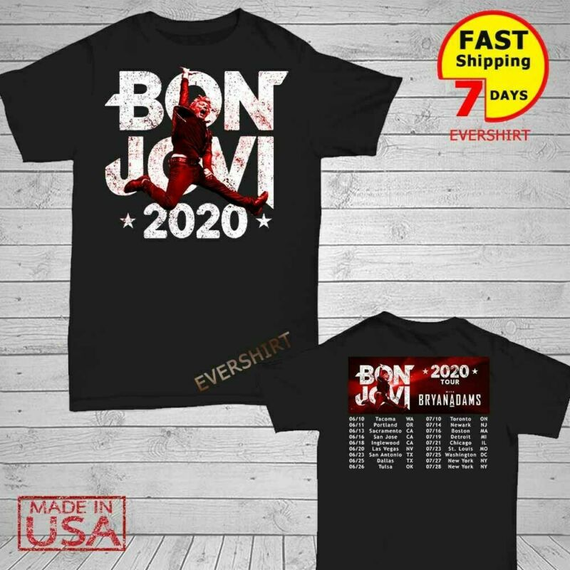 Bon Jovi Bryan Adams Shirt US tour 2020 T-Shirt Men Black